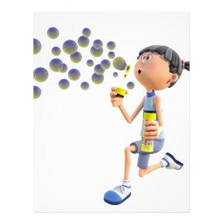 Cartoon Girl Blowing Bubbles Letterhead