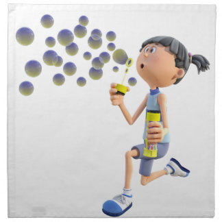 Cartoon Girl Blowing Bubbles Napkin