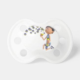 Cartoon Girl Blowing Bubbles Pacifier