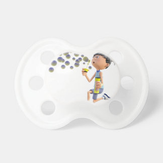 Cartoon Girl Blowing Bubbles Pacifiers