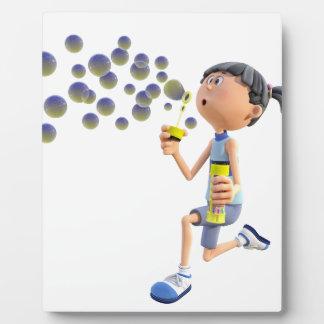 Cartoon Girl Blowing Bubbles Plaque