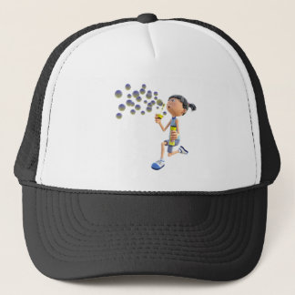 Cartoon Girl Blowing Bubbles Trucker Hat