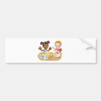 Cartoon Girl Chefs Bumper Sticker