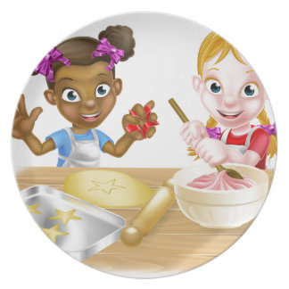 Cartoon Girl Chefs Party Plate