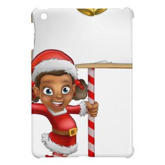 Cartoon Girl Christmas elf Holding Sign Cover For The iPad Mini