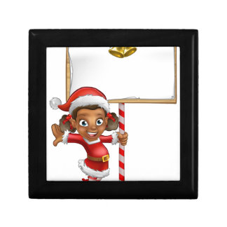 Cartoon Girl Christmas elf Holding Sign Jewelry Boxes