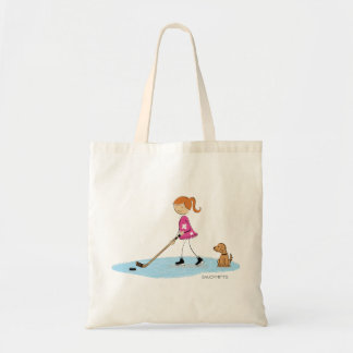 Cartoon Girl Hockey Player with Dog Tote Bag