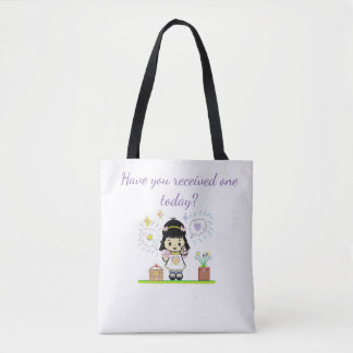 Cartoon Girl holding letter tote bag