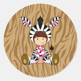 Cartoon Girl in Zebra Costume Round Sticker