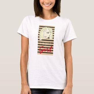 Cartoon Girl Portrait Blonde Sketch Stripes Cool T-Shirt