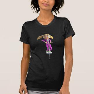 Cartoon Girl Riding a Pogo Stick T-Shirt