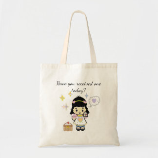 Cartoon Girl with Letter Tote Bag