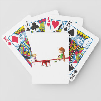 Cartoon Girls on a See Saw Bicycle Playing Cards