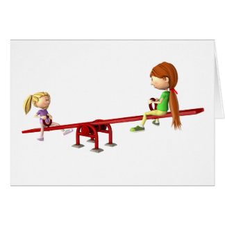 Cartoon Girls on a See Saw Card