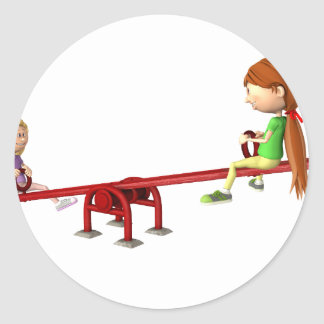 Cartoon Girls on a See Saw Classic Round Sticker
