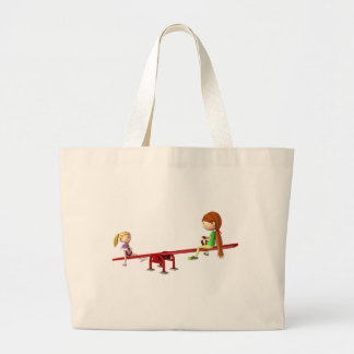 Cartoon Girls on a See Saw Large Tote Bag