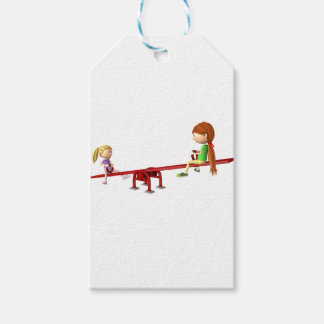 Cartoon Girls on a See Saw Pack Of Gift Tags
