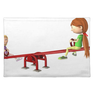 Cartoon Girls on a See Saw Placemat