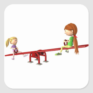Cartoon Girls on a See Saw Square Sticker