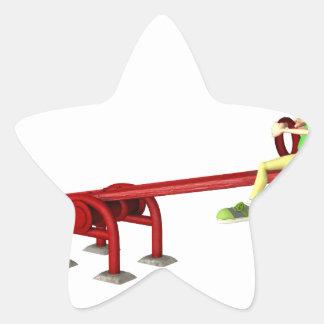 Cartoon Girls on a See Saw Star Sticker