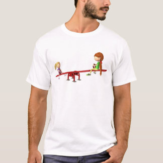 Cartoon Girls on a See Saw T-Shirt