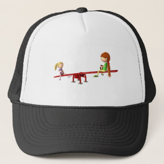 Cartoon Girls on a See Saw Trucker Hat
