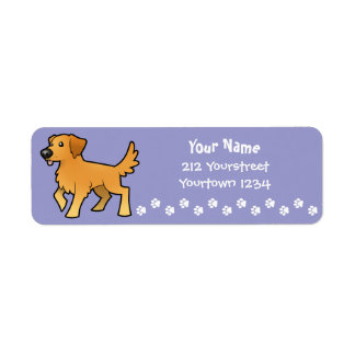 Cartoon Golden Retriever Return Address Label