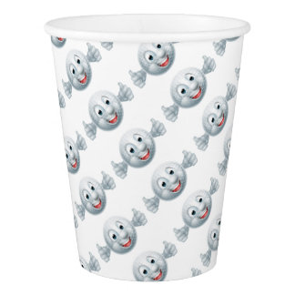 Cartoon Golf Ball Mascot Paper Cup