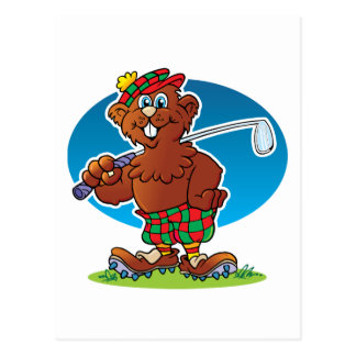 Cartoon Gopher Golfing Postcard