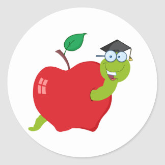Cartoon Graduate Worm In Apple Classic Round Sticker