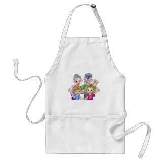 Cartoon Grandparents and Children Standard Apron