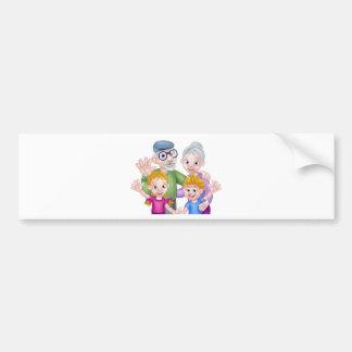 Cartoon Grandparents and Grandchildren Bumper Sticker