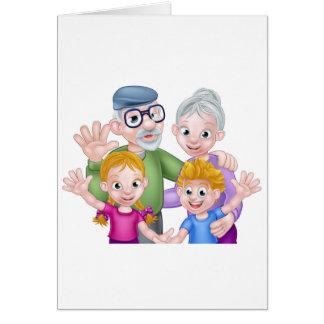 Cartoon Grandparents and Grandchildren Card