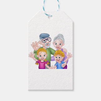 Cartoon Grandparents and Grandchildren Gift Tags