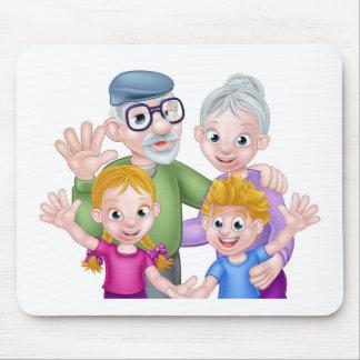 Cartoon Grandparents and Grandchildren Mouse Pad