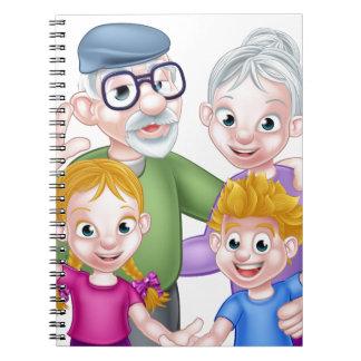 Cartoon Grandparents and Grandchildren Spiral Notebook