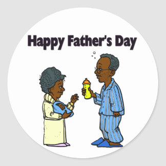 Cartoon Grandparents - Happy Father's Day Classic Round Sticker