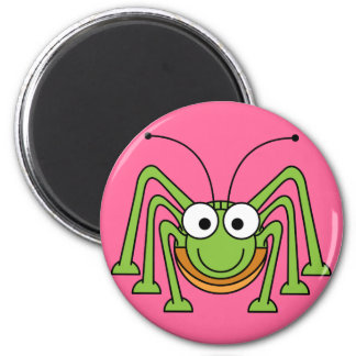Cartoon Grasshopper 2 Inch Round Magnet