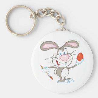 Cartoon Gray Rabbit Painting Easter Egg Basic Round Button Keychain