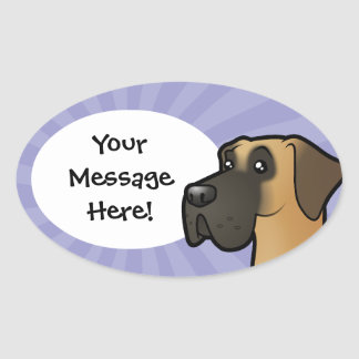 Cartoon Great Dane (natural) Oval Sticker