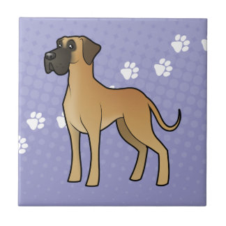 Cartoon Great Dane (natural) Tile