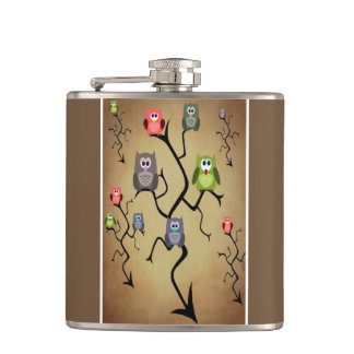 Cartoon Great Horned Owls Hip Flask