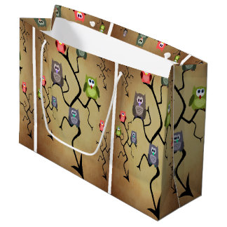 Cartoon Great Horned Owls Large Gift Bag