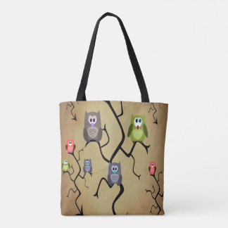 Cartoon Great Horned Owls Tote Bag