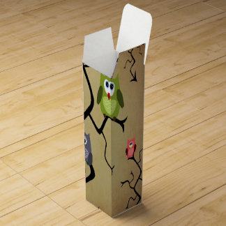 Cartoon Great Horned Owls Wine Box