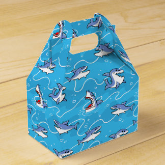 Cartoon Great White Sharks Favor Box