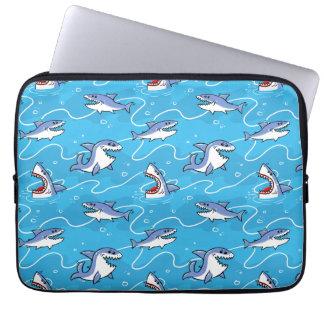 Cartoon Great White Sharks Laptop Sleeve