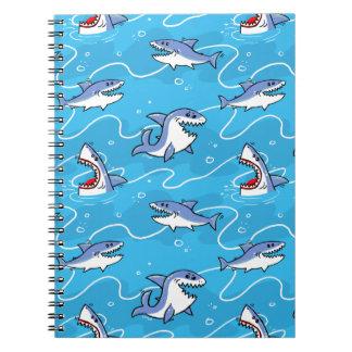 Cartoon Great White Sharks Notebooks