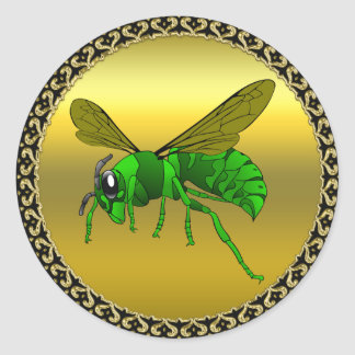 Cartoon green and lime bee with gold foil classic round sticker