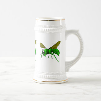 Cartoon green and lime hornet wasp bee beer stein